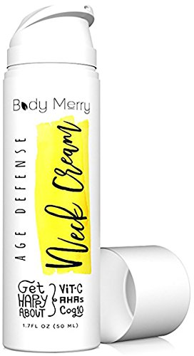 Body Merry Age Defense Neck Cream - Anti aging moisturizer w CoQ10 + Vitamin C + Squalane for firming & combating wrinkles on neck, decolletage, face & eyes for men and women - can be used day & night - Neck Cream