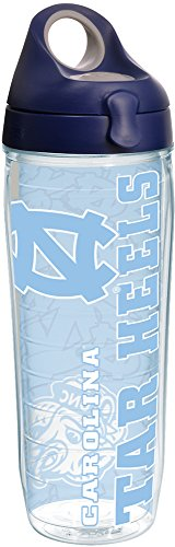 Tervis 1221254 North Carolina Tar Heels College Pride Tumbler with Wrap and Navy with Gray Lid 24oz Water Bottle, Clear