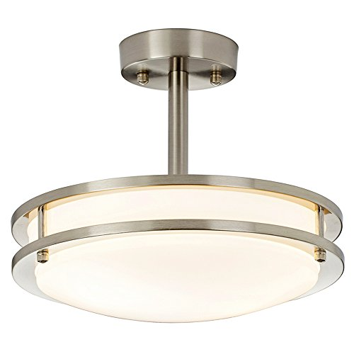 "SOTTAE 11.8"" Modern Brushed Nickel Kitchen Bathroom Dining Room Living Room Flush Mount Ceiling Light, Ceiling Lamp For Corridor"
