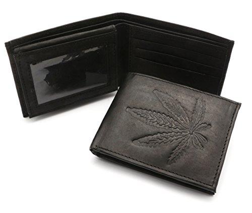 Bifold-Genuine-Leather-Black-Wallet-with-Marijuana-Leaf-Weed-Embossed-Design