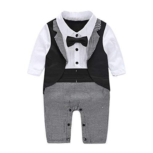 Shusuen_baby Boy Tie Plaid Bodysuit Kids Romper Jumpsuit Wedding Tuxedo Dress Suits Black Watch Silk Tartan
