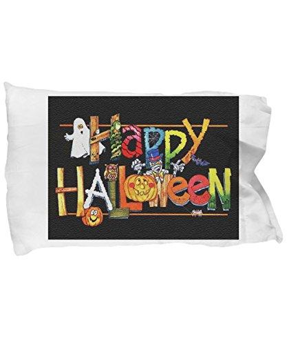 Happy Halloween Pillow Cases - Halloween Happy Monsters - Pillow Case - Kids - Gift ()