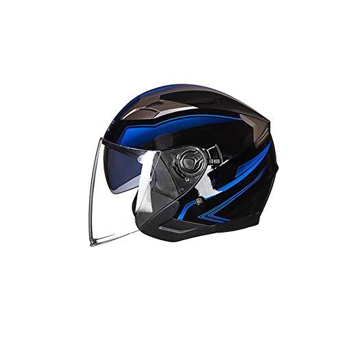 Casque 3//4 avec Pare-Soleil pour Homme Adulte shizhongminghe-FR Casque de Moto Ouvert Visage de Moto Cyclomoteur Jet Bobber Pilot Crash Chopper Femme Bright Black-Blue L