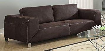 Monarch Specialties Chocolate Brown/Tan Contrast Micro-Suede Sofa
