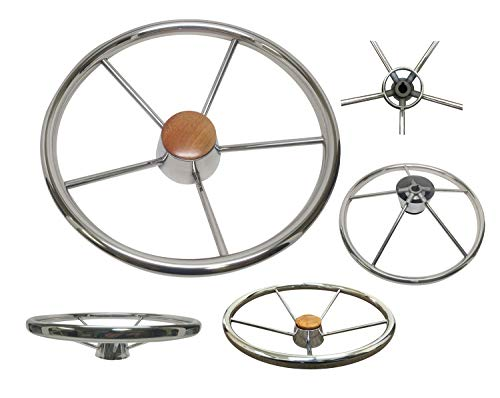 - PactradeMarine Destroyer Style SS304 Five Spoke Steering Wheel with Teak Cap