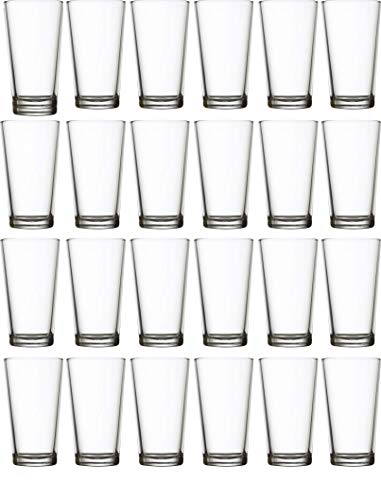 Circleware 04128/AM Huge 24-Piece Set of Highball Tumbler Drinking Glasses 16 oz. Home & Kitchen Party Heavy Base Clear Glassware Cups for Water, Beer, Juice, Ice Tea, Bar Beverages Simple Home 24pc ()