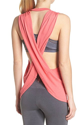 Halter Workout Tops (Duppoly Juniors Top Gym Apparel Girl Women Fit Open Back Party Tops Quick Dry Stretchy Tee Shirt Daily Wear Halter Workout Shirt for Workout Dance Red S)
