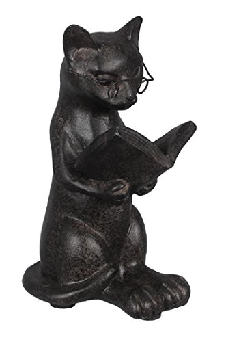 Young's Resin Cat Reading Figurine, - Figurine Statue Cat