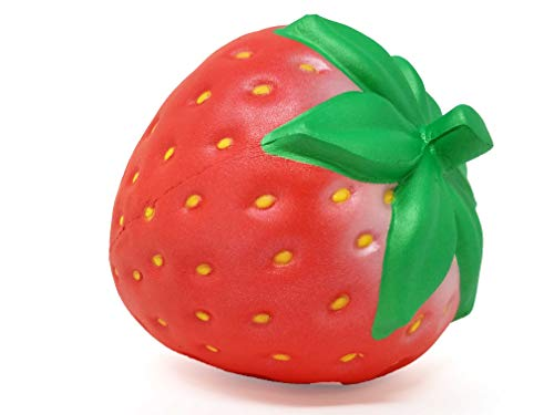 iBloom Slow Rising [Squishy Collection] I Love Strawberry Fresh Strawberry Squishy Kids Cute Adorable Doll Stress Relief Toy Decorative Props [Pearl Red]