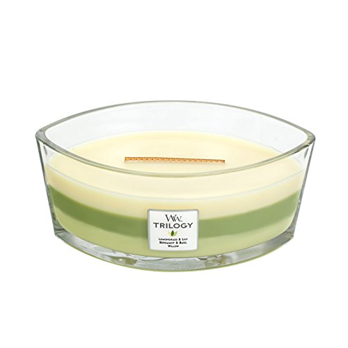 - WoodWick Trilogy Garden Oasis, 3-in-1 Highly Scented Candle, Ellipse Glass Jar with Original HearthWick Flame, Large 7-inch, 16 oz