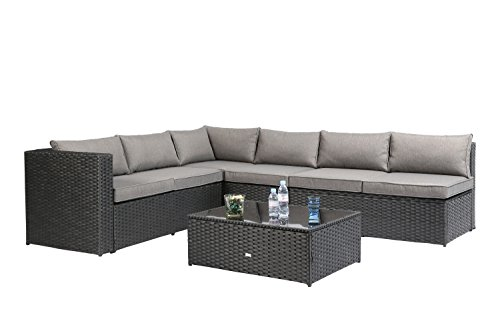 Seater 4 Garden (Baner Garden K86-BL NAT PE Wicker Sectional Sofa Set, 6-Seater, Black)
