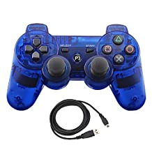 Molgegk Inalámbrico Bluetooth Controlador con cable USB para PS3 playstation 3, remoto gamepad palanca de mando doble vibración(Claro Azul)