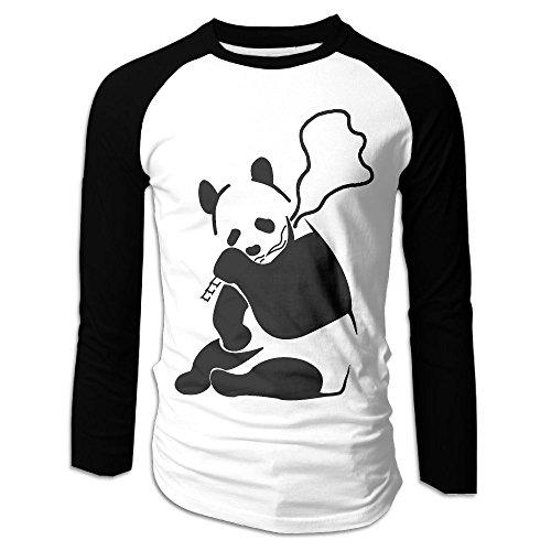 Men's Banksy Panda Tri-Blend Long Sleeve T-Shirt Raglan Size M Color (The Joker's Wife Costume)