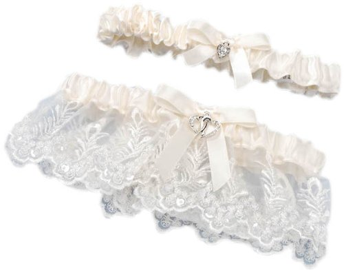 (Darice VL58631, Lace Heart Accent Adjust Garter with Toss Away,)