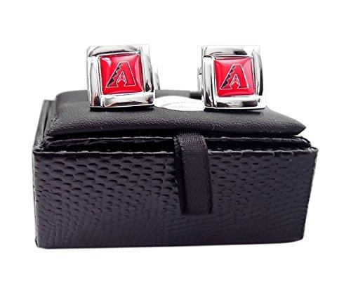 Arizona Diamondbacks MLB Sports Fan Team Logo Square Engraved Design Mens Cufflinks Gift Box Set - Diamond Engraved Cufflinks