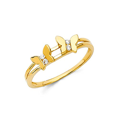Paradise Jewelers 14K Solid Gold Butterfly Cubic Zirconia Fancy Ring, Size 6