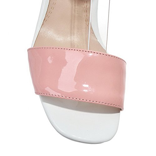 Pink Patent Open Solid Sandals Leather AmoonyFashion Heels High Toe Womens Buckle 4vw6qv