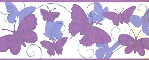 Butterfly Wallpaper Border Purple Pink White Abstract Classic BS5404B Concord Wallcovering 9