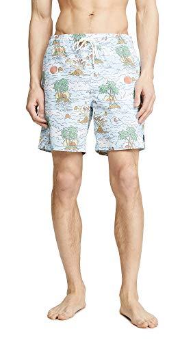 RVCA Men's Montague Elastic Trunk, Blue, L (Swim Shorts For Men Rvca)