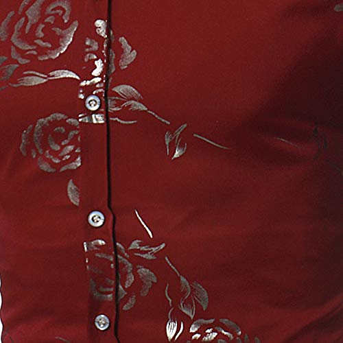 Longues Slim Impression Tops Basic Hommes Zycshang Revers Blouse Britannique T Streetwear Marche Voyage Outwear Pullover shirt Business Manches Style Loisirs Chemise Fit Vin Rose Vacances Du q70wx0Xv