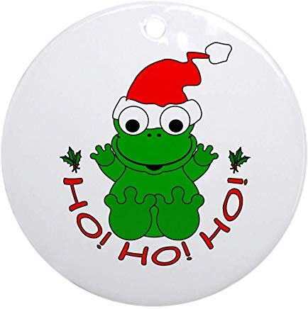 (Voicpobo Cartoon Frog Santa Christmas Ornaments Round Novelty Ceramic Christmas Tree Decoration Ornament Gifts for Friends,for Family)