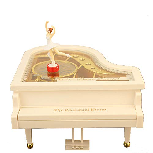 Beneficial Piano Shape Music Box,Home Room Decoration with Vintage Baller Dancer, Kids Child OR Wedding Gift (White) by Beneficial (Image #5)