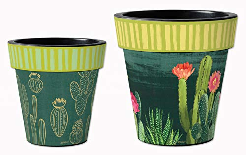 (Studio M Night Cactus Art Planters Trendy Southwest Decorative Pots, Fade-Resistant Container for Outdoors or Indoors - Set of 2, Printed in The USA, 12 and 15 Inch Diameter)