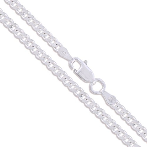 (Sterling Silver Curb Chain 3.3mm Solid 925 Miami Link New Necklace 20