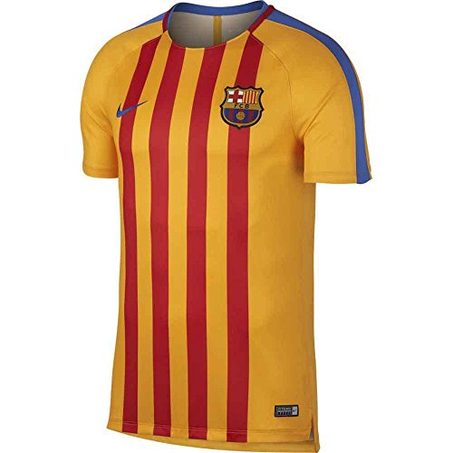 Nike Men's Barcelona NK Dry Squad Top SS GX Soccer Training Jersey (Sz. Medium) Gold, (Pre Match)