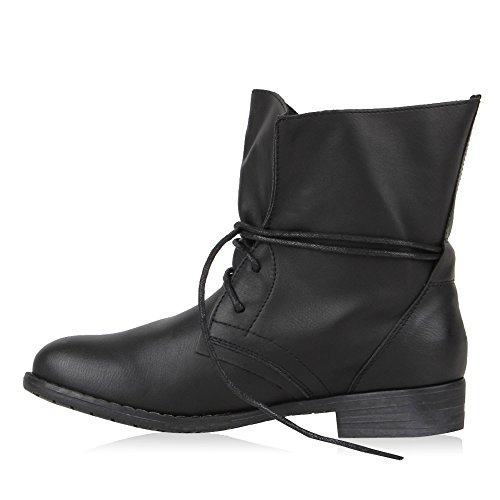 Desert Black Schwarz Women's Boots Block With Lace Shoes Heel up qp8zqSY