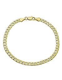 Pori Jewelers - Cadena de oro amarillo de 10 quilates y 5 mm hueca, fabricada en Italia