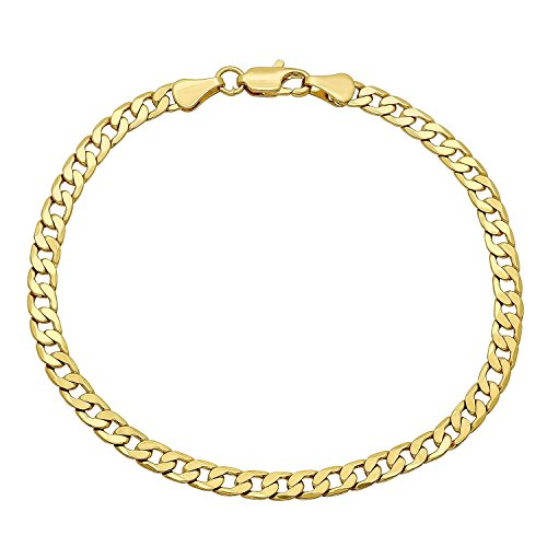 Pori Jewelers 10K Gold 5MM Hollow Curb/Cuban Chain Bracelet/Necklace-Made in Italy - Choose your length and Color (Yellow, 8) Curb Mens Gold Bracelet