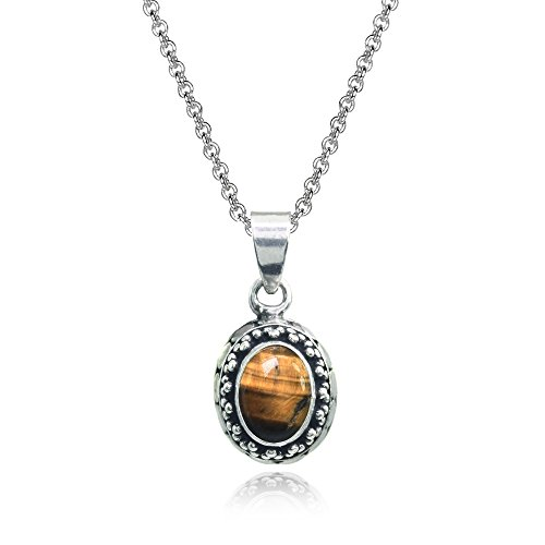 Sterling Silver Simulated Tiger's Eye Oval Thick Oxidized Bali Dainty Pendant ()
