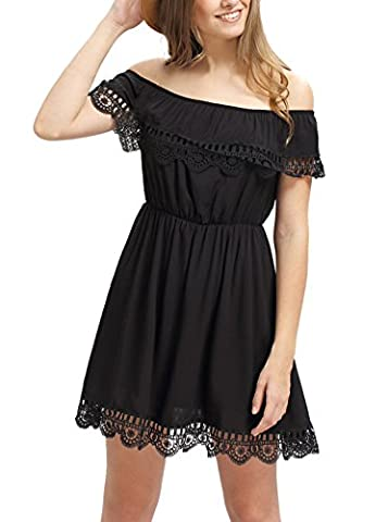 SheIn Women's Off Shoulder Crochet Lace Patchwork Casual Dress Medium Black - Holiday Stretch Lace Dress