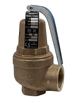 "Apollo Valve 10-600 Series Bronze Safety Relief Valve, ASME Hot Water, 160 psi Set Pressure, 3/4"" x 1"" NPT Female from Conbraco"