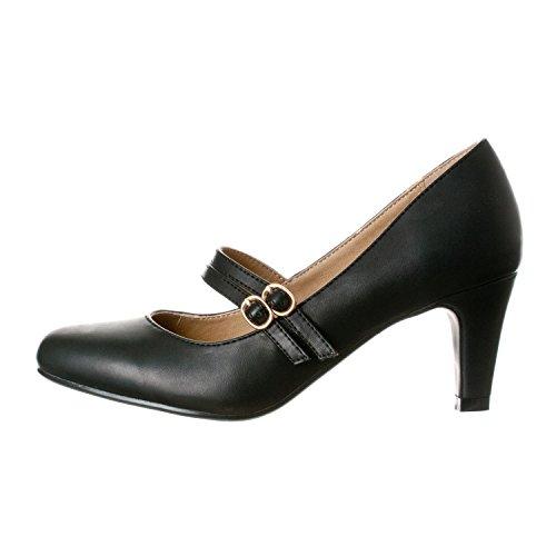Heel Chunky Mid Pump Jane Pu Riverberry Women's Heels Black Mary Mila AZBEZInU