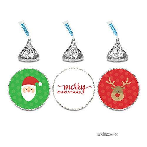 Andaz Press Christmas Collection Chocolate Drop Labels, Merry Christmas Santa and Rudolph Reindeer, 216-Pack, Fits Hershey's Kisses Party Favors