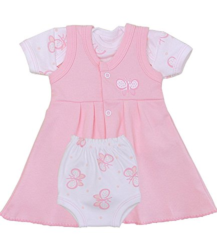Premature Early Baby Clothes Pink Butterfly Dress, T Shirt & Pants Set 1.5 - 7.5lb