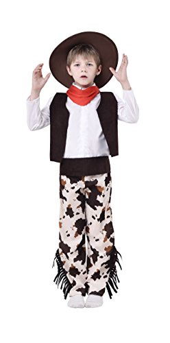 Blue Panda Cowboy Costume for Kids - 5-Piece Western Cowboy Outfit Dress-up for Boys, Age 7-9