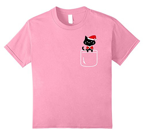 Cat In The Hat Outfit Ideas (Kids Santa Christmas Cat In Your Front Pocket T-Shirt Feline Love 12 Pink)