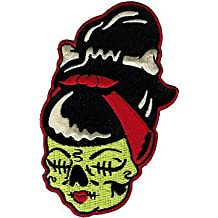 Shrunken Zombettie Head - Green Sourpuss - Embroidered Sew or Iron on Patch
