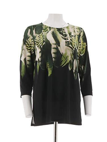 Susan Graver Printed Liquid Knit Top A298482, Black Green, M