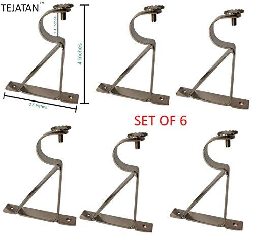 TEJATAN Curtain Rod Brackets - Silver Set of 6 (Also known as - Curtain rod Holder / Curtain rod Bracket / Bracket for Drapery rod / Bracket set for Draperies rod / Brackets for curtains rod)