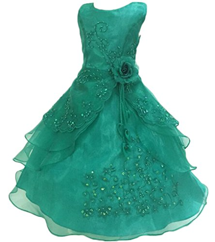 Shiny Toddler Little Girls Embroidered Beaded Flower Girl Birthday Party Dress with Petticoat 7t-8t(Tag 130),MintGreen -