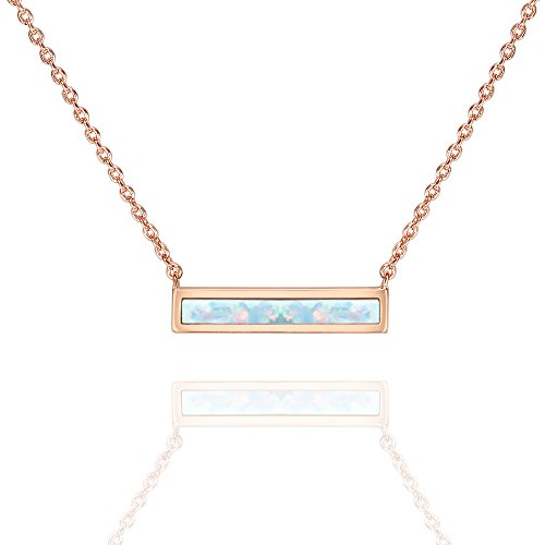 PAVOI 14K Rose Gold Plated Thin Bar White Opal Necklace 16-18""