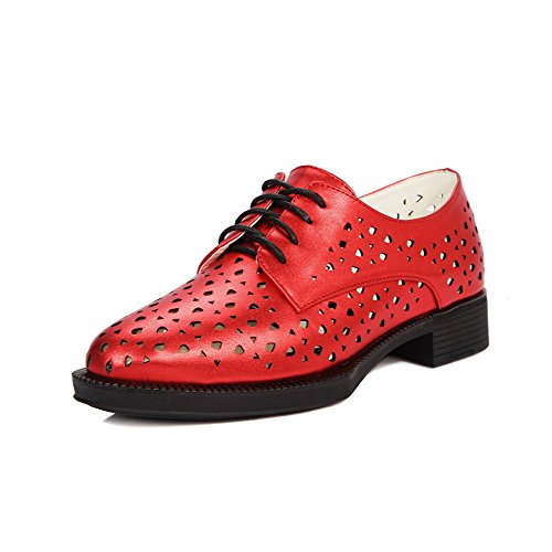 Allhqfashion Mujeres Round Closed Toe Low Heels Lace Up Solid Bombas-zapatos Rojo