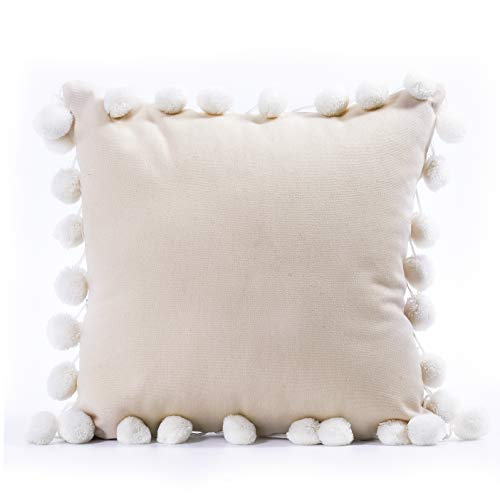 """NSSONBEN 100% Cotton Pom poms Throw Pillow Covers Decorative Cushion Cases for Couch Sofa Home Car Chair16 X 16"""", Natural Color"""