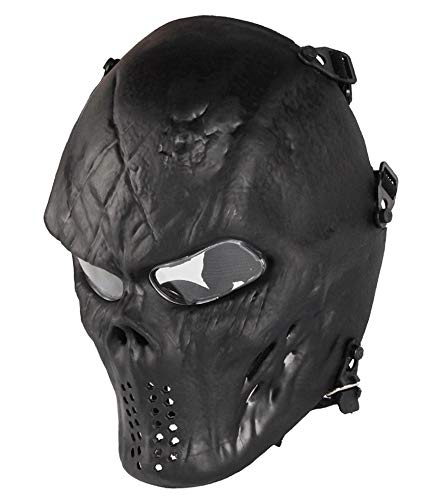 NINAT Airsoft Skull Masks Full Face - Tactical Mask Eye Protection for CS Survival Games BBS Shooting Masquerade Halloween Cosplay Movie Props Zombie Scary Skeleton Masks Black clearlens ()