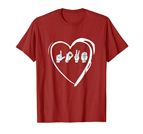 Love Sign Language Heart ASL Valentines Day Gift T-Shirt