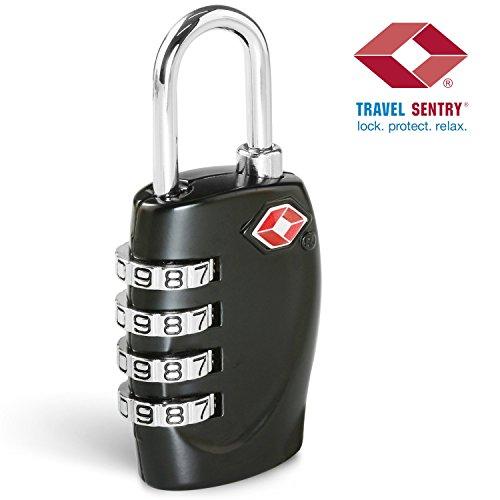 TSA Zahlenschloss Gepäckschlösser, TSA Reiseschlösser - 4-stellige Zahlenkombination - Bestes TSA anerkanntes Zahlenschloss für Reisesicherheit - Strapazierfähig, Reiseschlösser, TSA Kofferschloss - Verschliess-Schutz - Schwarz